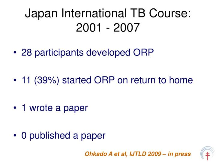 Japan International TB Course: