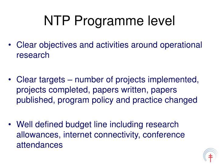 NTP Programme level