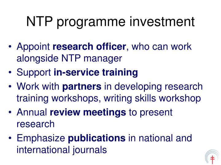NTP programme investment