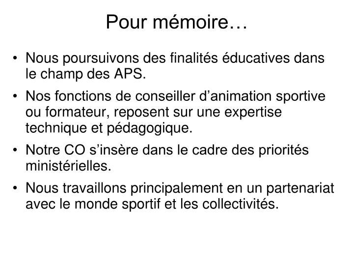 Pour mémoire…