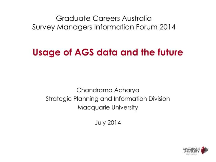 Graduate careers australia survey managers information forum 2014