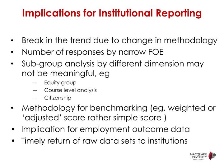 Implications for Institutional Reporting