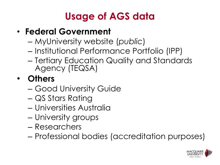 Usage of AGS data