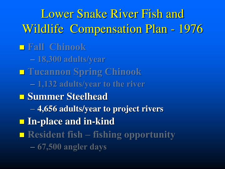 Lower Snake River Fish and Wildlife  Compensation Plan - 1976