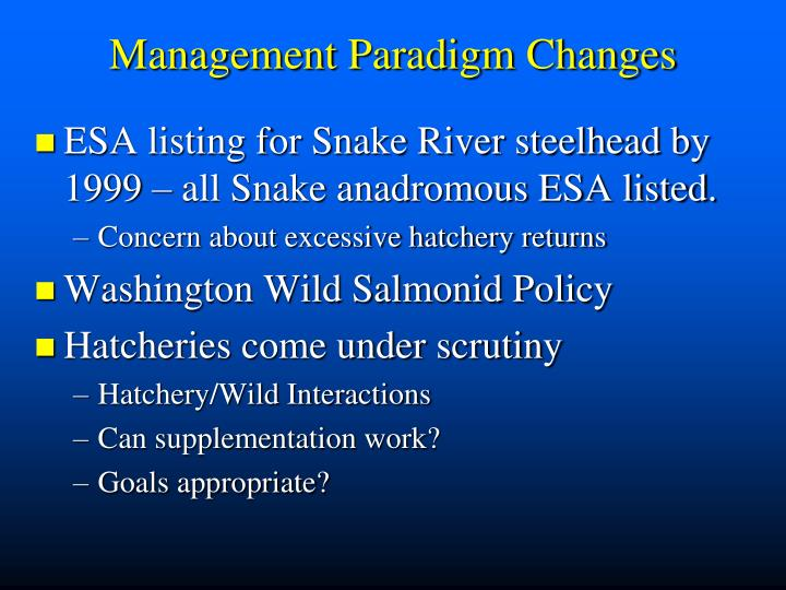 Management Paradigm Changes
