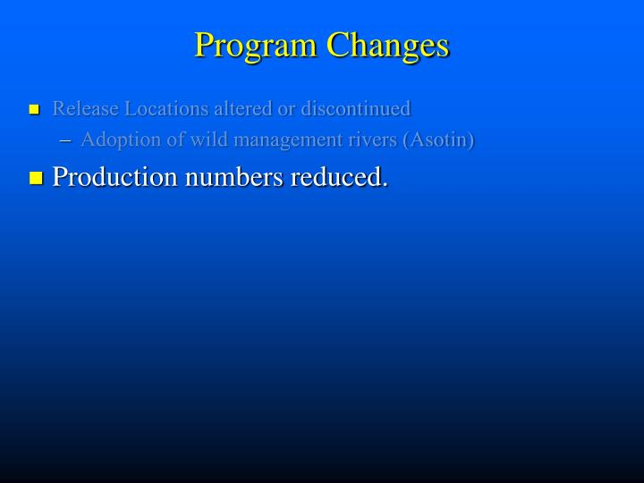 Program Changes