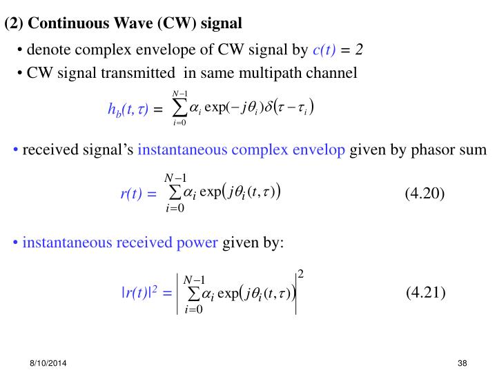 (2) Continuous Wave (CW) signal