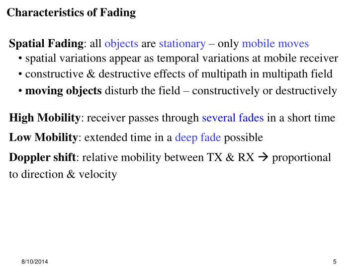 Characteristics of Fading