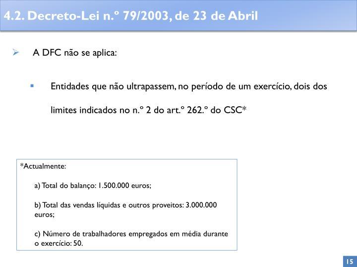 A DFC não se aplica: