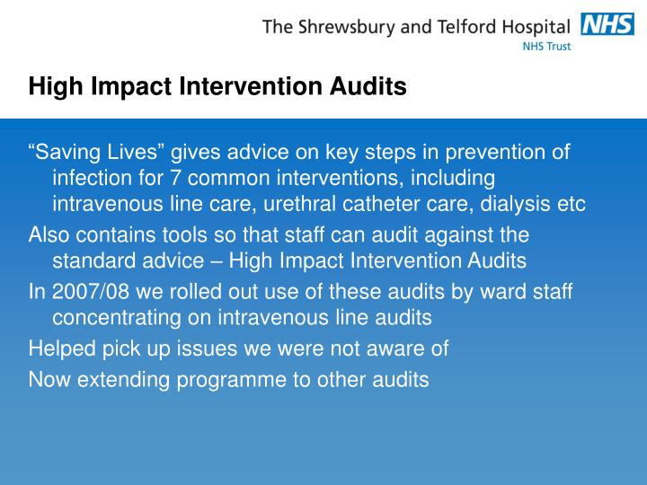 High Impact Intervention Audits