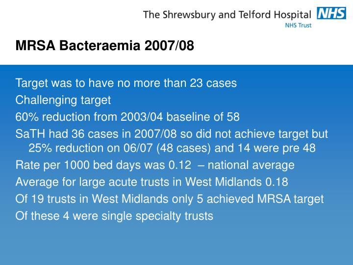 MRSA Bacteraemia 2007/08