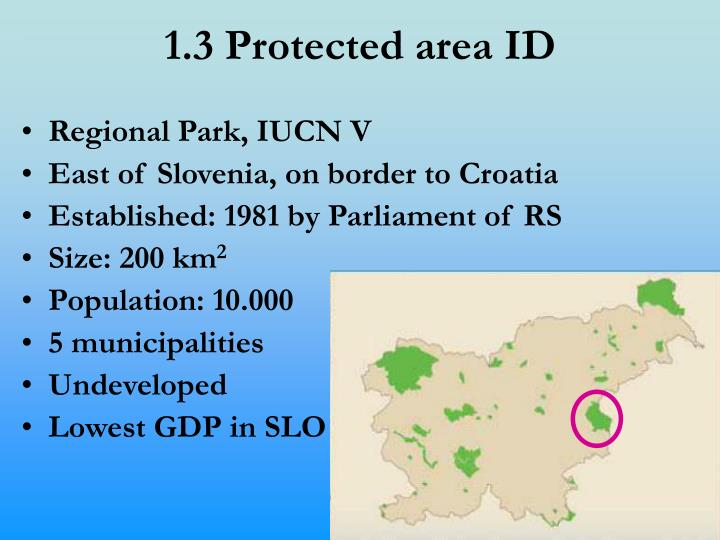 1.3 Protected area ID