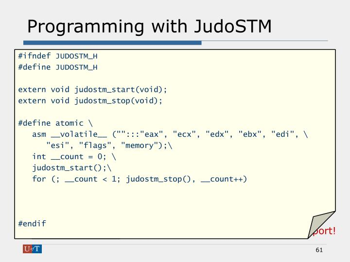 Programming with JudoSTM