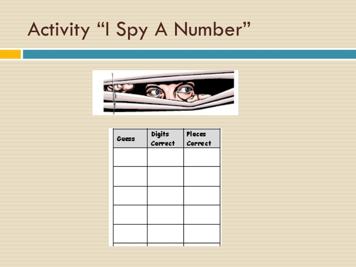 "Activity ""I Spy A Number"""