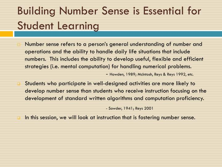 Building number sense is essential for student learning