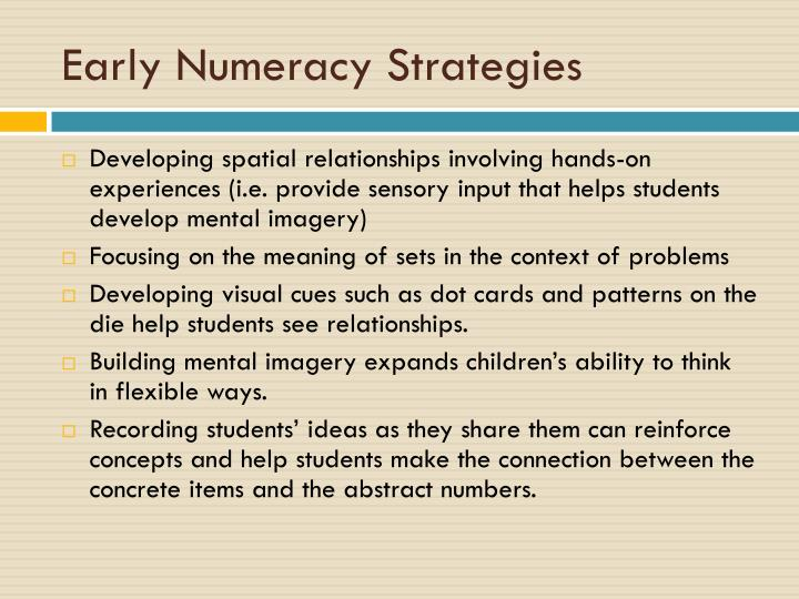 Early numeracy strategies