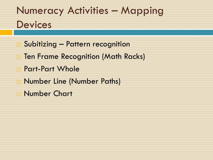 Numeracy Activities – Mapping Devices