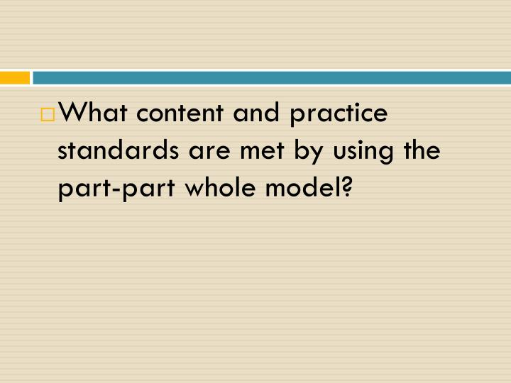 What content and practice standards are met by