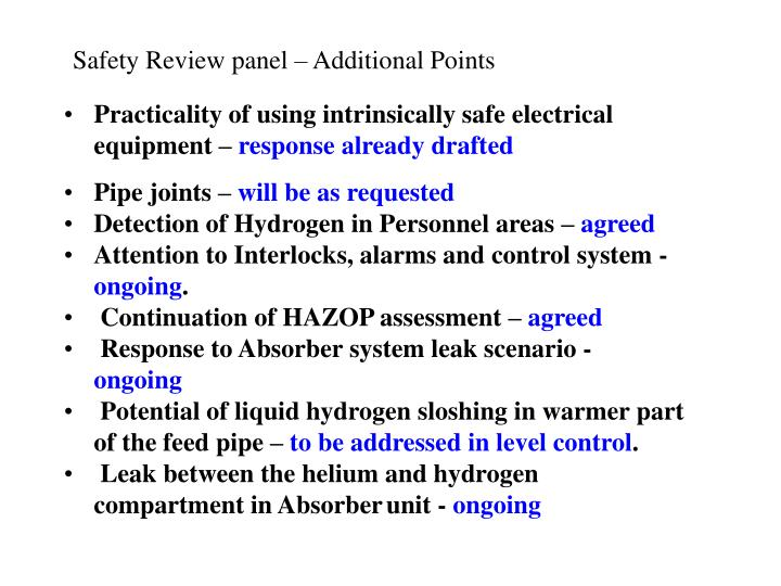 Safety Review panel – Additional Points