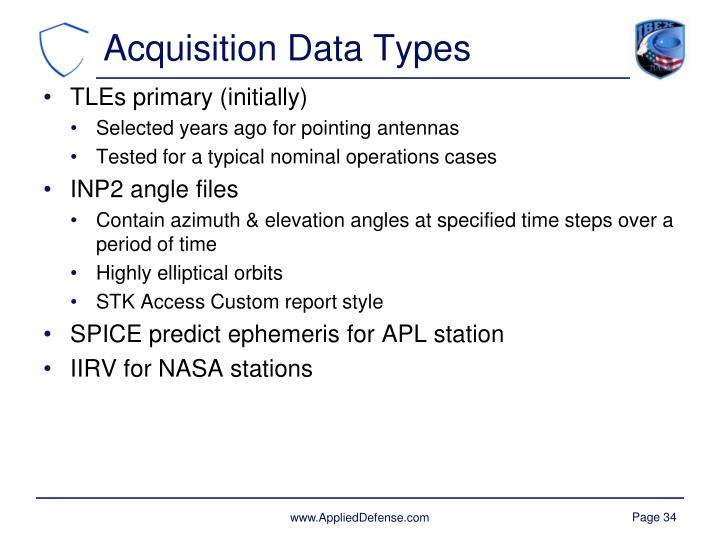 Acquisition Data Types