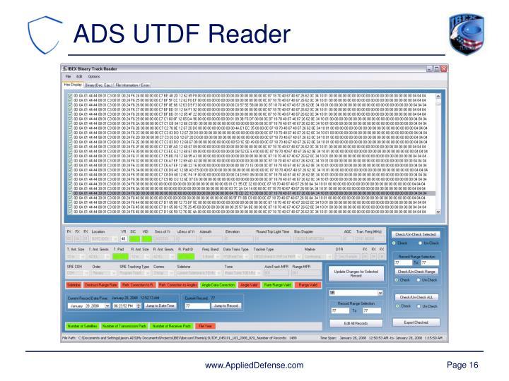 ADS UTDF Reader