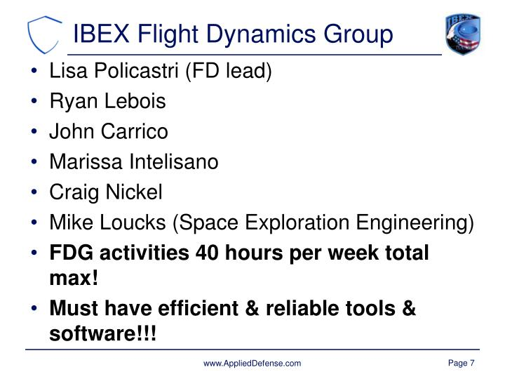 IBEX Flight Dynamics Group