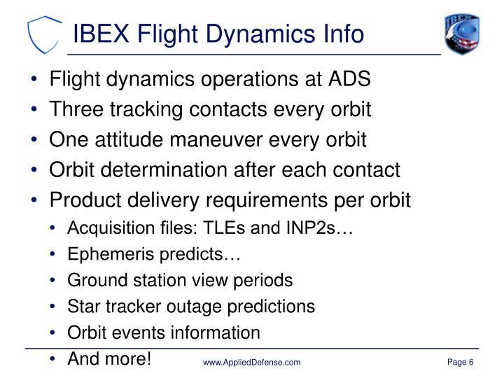 IBEX Flight Dynamics Info