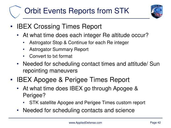 Orbit Events Reports from STK