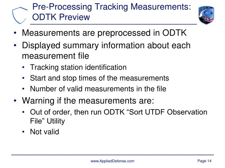 Pre-Processing Tracking Measurements: ODTK Preview