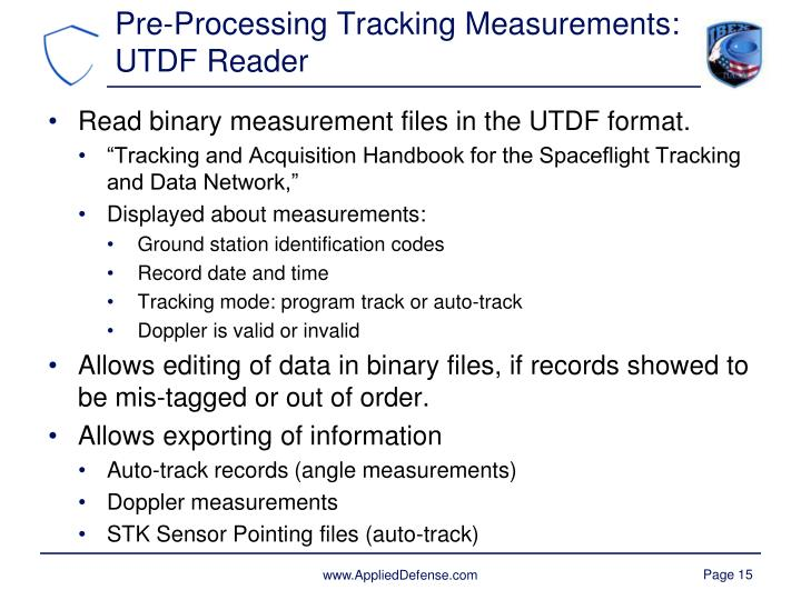 Pre-Processing Tracking Measurements: UTDF Reader