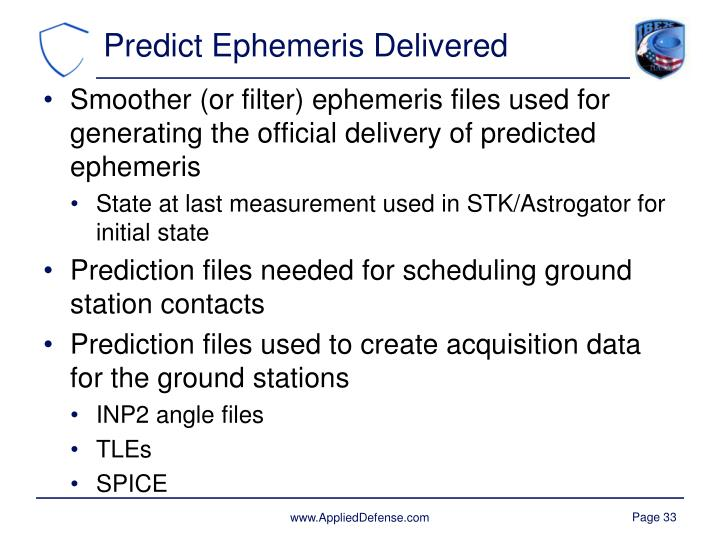 Predict Ephemeris Delivered