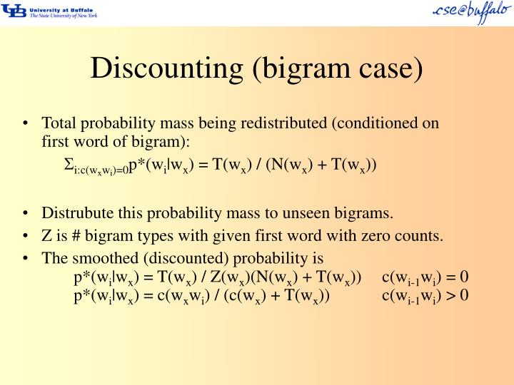 Discounting (bigram case)