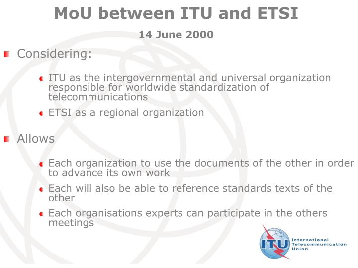 MoU between ITU and ETSI