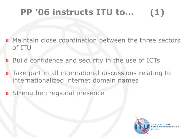 PP '06 instructs ITU to…	(1)