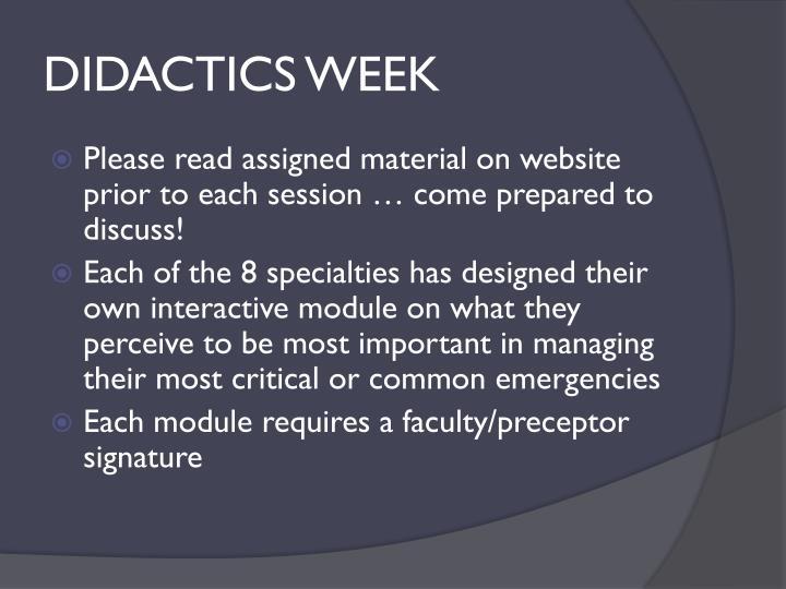 DIDACTICS WEEK