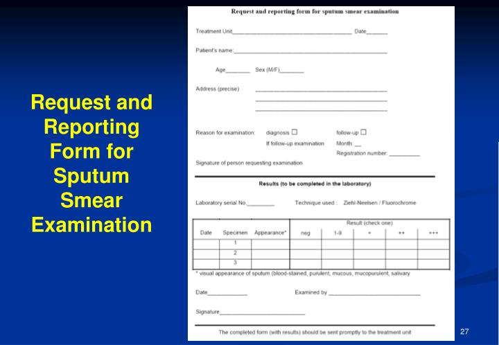 Request and Reporting Form for Sputum Smear Examination