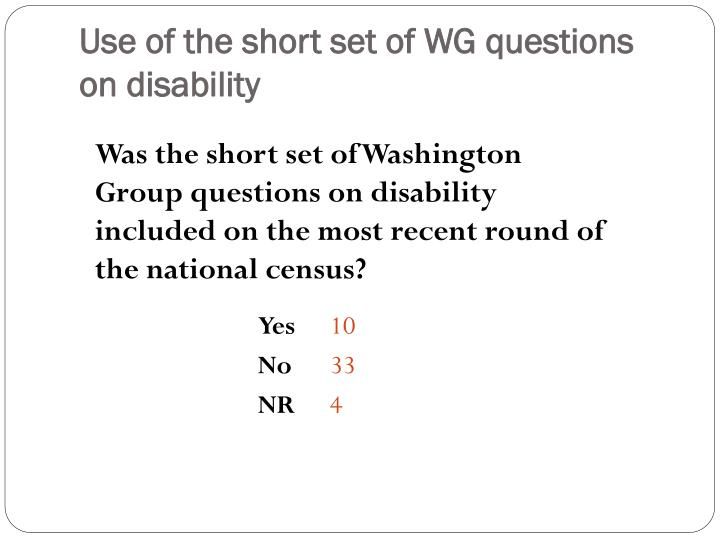 Use of the short set of WG questions on disability