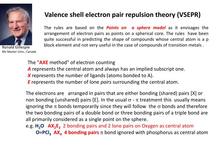 Valence shell electron pair repulsion theory (VSEPR)