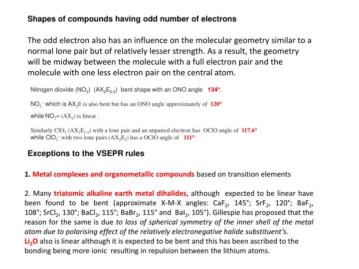 Shapes of compounds having odd number of electrons