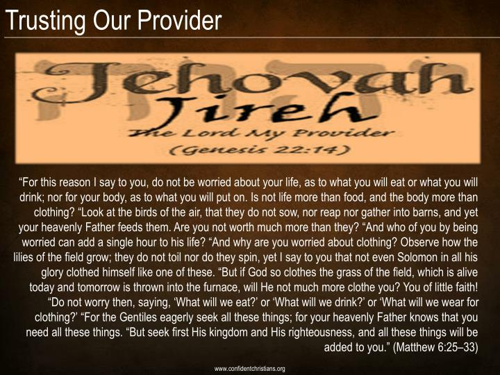 Trusting Our Provider
