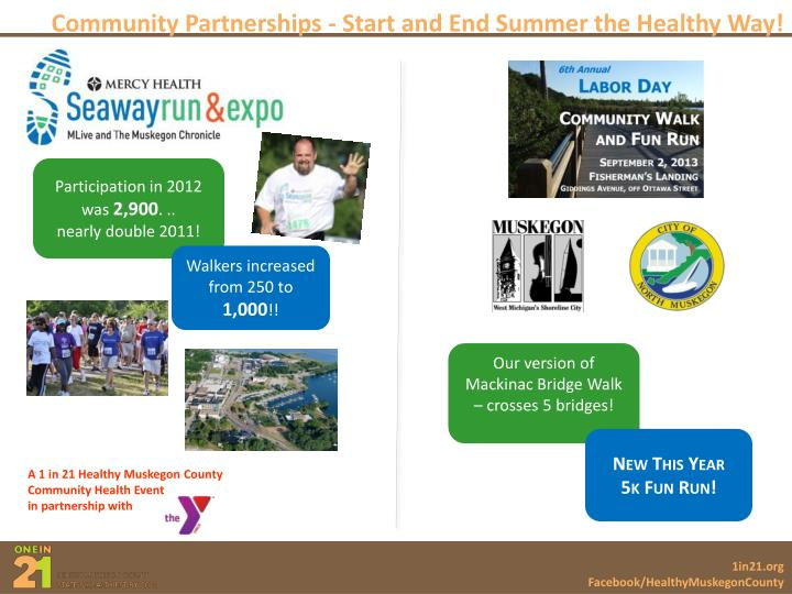 Community Partnerships - Start and End Summer the Healthy Way!