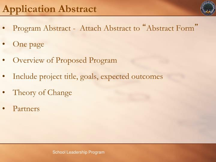 Application Abstract