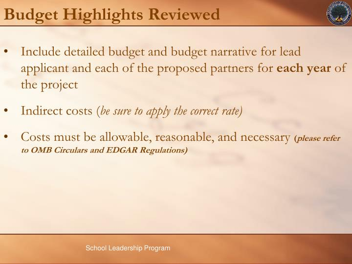Budget Highlights Reviewed