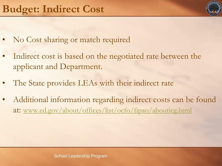 Budget: Indirect Cost