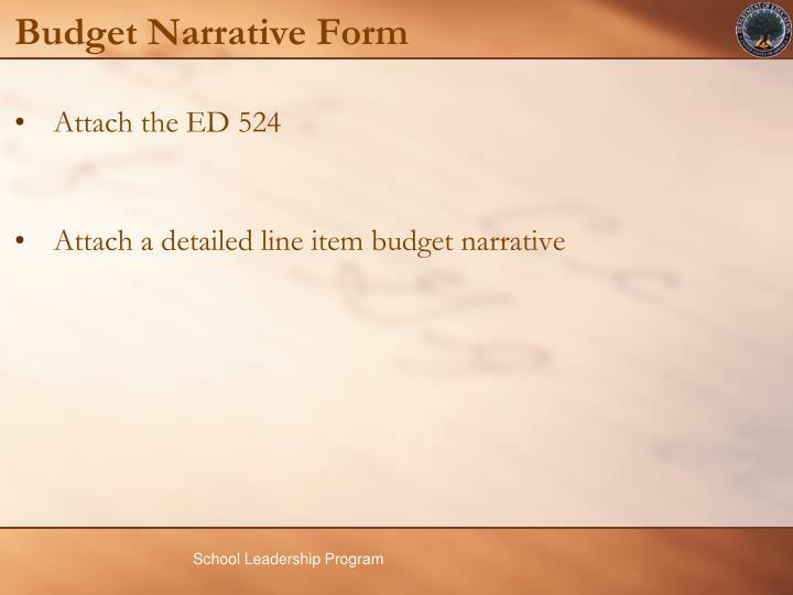 Budget Narrative Form