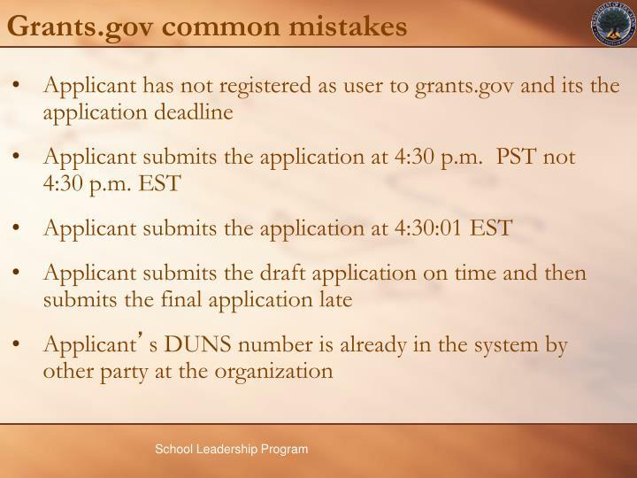 Grants.gov common mistakes