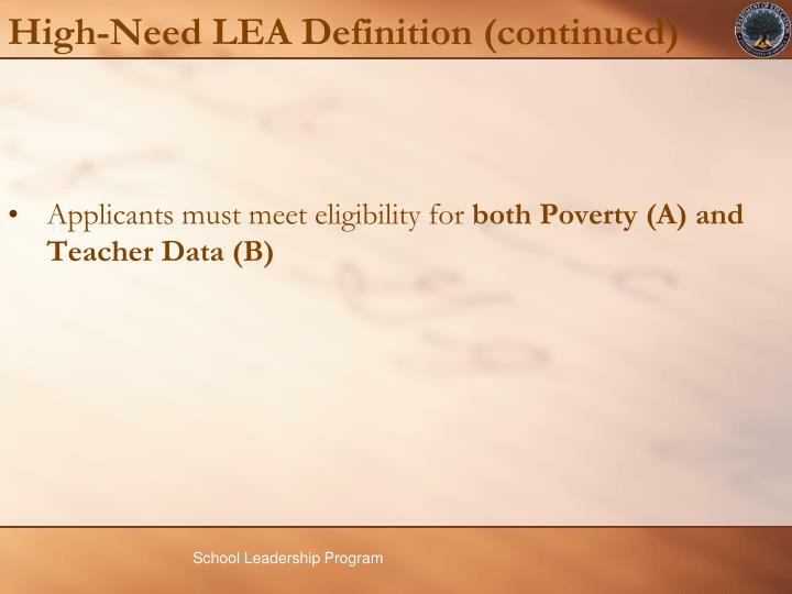 High-Need LEA Definition (continued)
