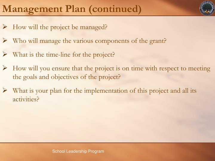 Management Plan (continued)