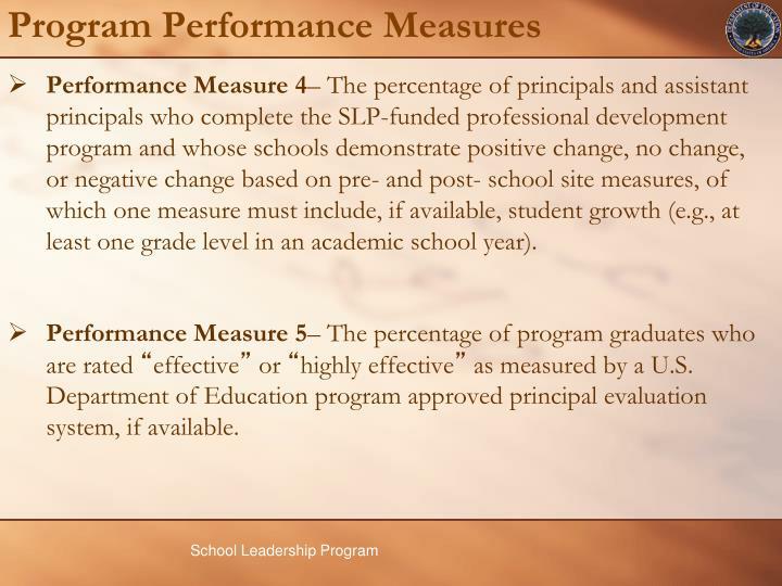 Program Performance Measures