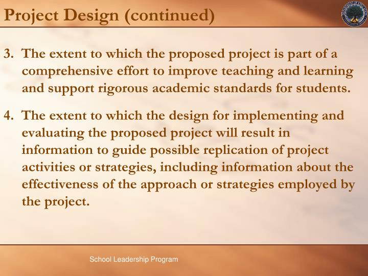 Project Design (continued)